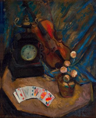Abraham Weinbaum, Martwa natura ze skrzypcami i kartami Still-life with a Violin and Playing Cards